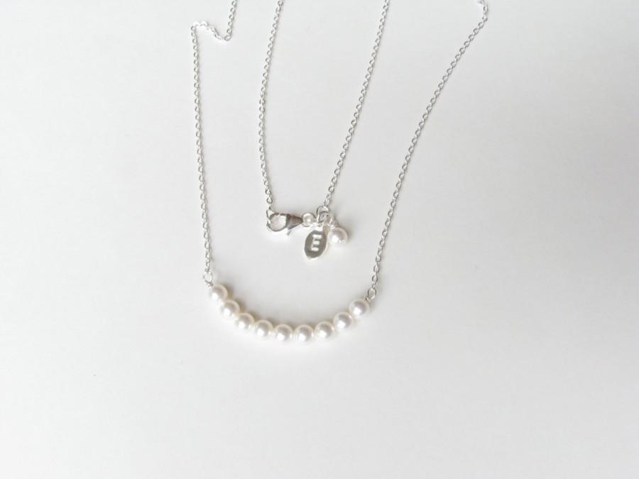 زفاف - Personalized Pearl Necklace, Custom Pearl, Sterling Silver, White, Single Strand, Letter, Bridesmaid Initial Engraved, Bridal Party Gift