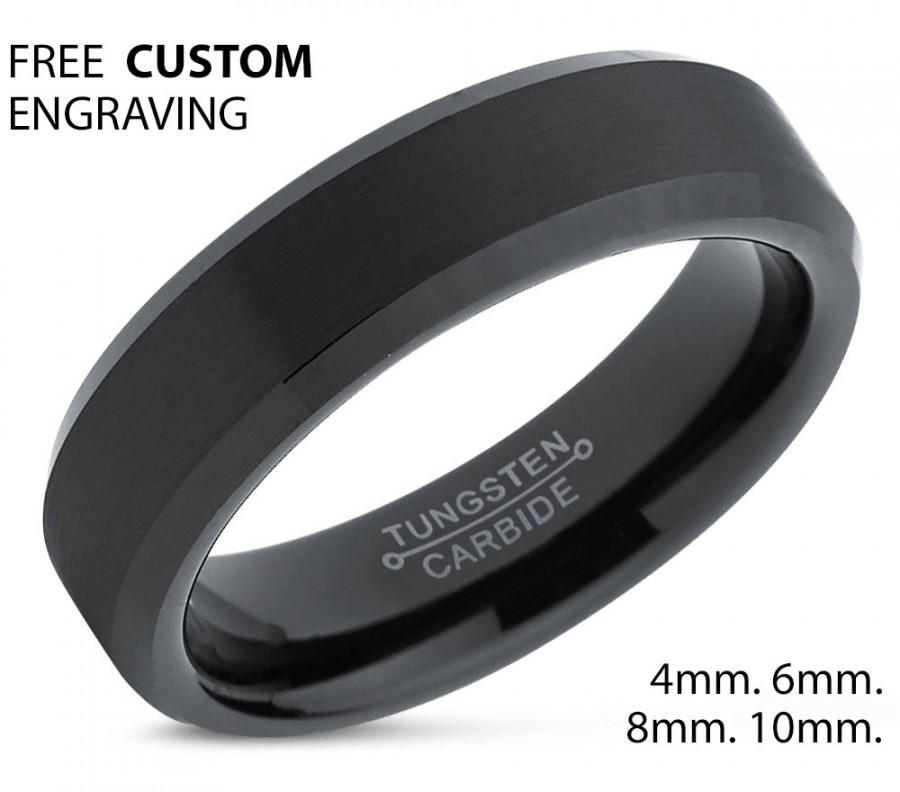 Tungsten Ring Mens Black Wedding Band Carbide 6mm Man Male Women Anniversary Matching
