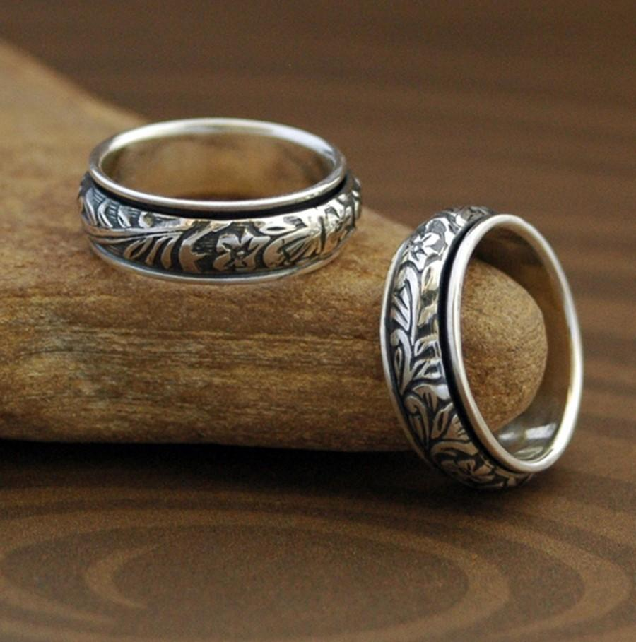 Hochzeit - Spinner Ring - Floral and Scroll in Sterling Silver - Made to Order - Free Shipping in the U.S.