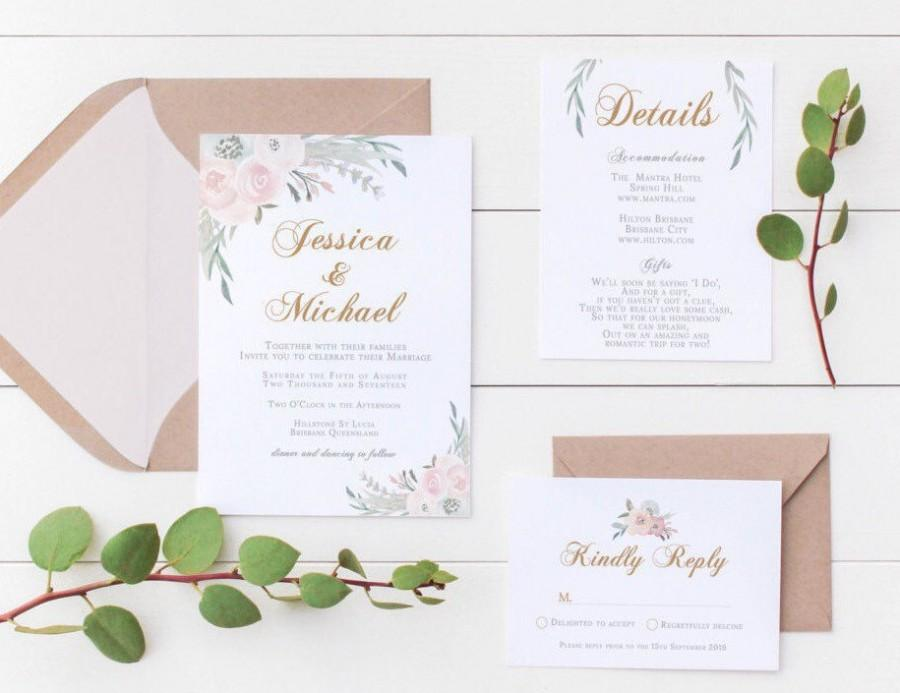 Mariage - Printable Wedding Invitation // Floral Wedding // Wedding Inviations // Printable Wedding Invitations // 3-Piece Suite // The Sophie Suite