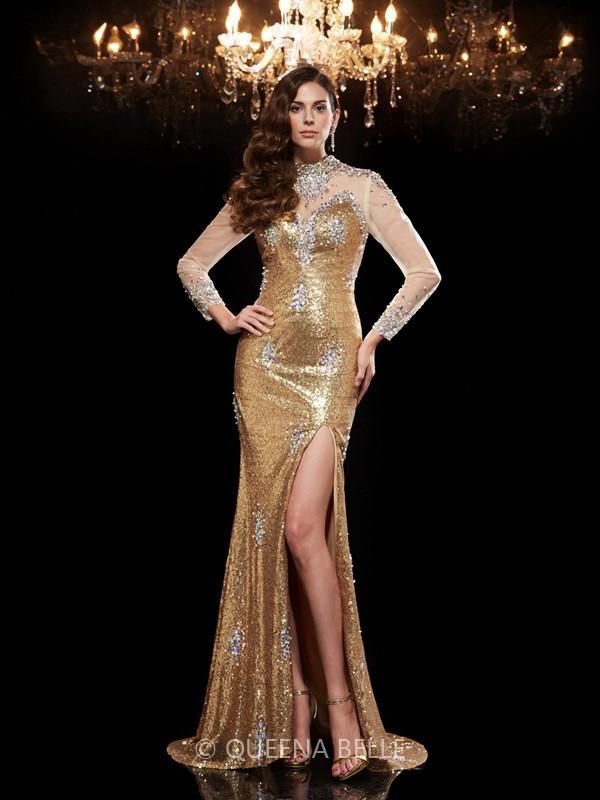 Mariage - Trumpet/Mermaid High Neck 3/4 Sleeves Sequin Sweep/Brush Train Dresses