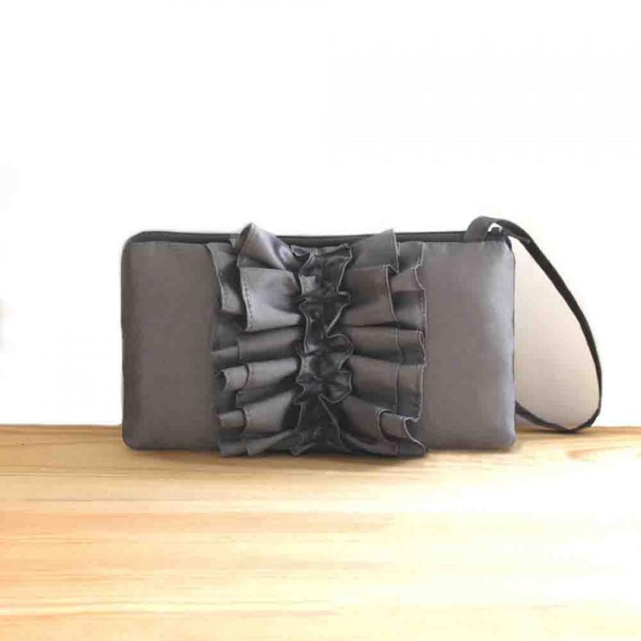 Hochzeit - SALE Charcoal Gray Bridesmaids Clutch- Pewter Ruffle Clutch