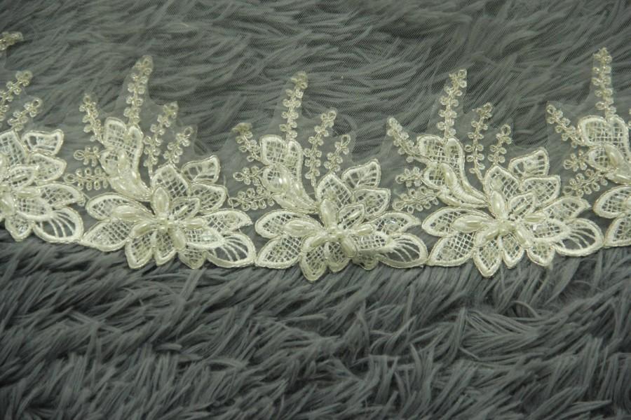 Hochzeit - Bride Cathedral Veil Ivory Length veil Alencon lace veil Hand-beaded  Flowers edge veil Wedding dress veil Wedding Accessories