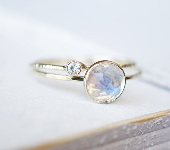 Hochzeit - Rainbow Moonstone Ring Set, Moissanite Ring Set, Diamond Ring, Engagement Ring, Wedding Band, White Gold Ring, 14k Gold Ring, Stacking Rings