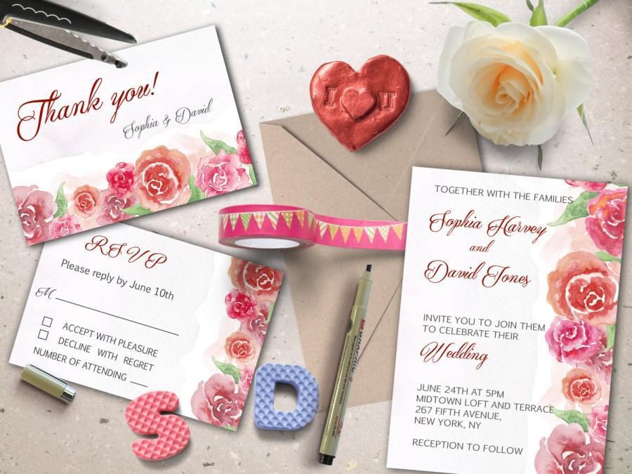 Hochzeit - Wedding printable suite, Hand painted watercolor wedding invitation/RSVP/ Thank you card. DIY Wedding invites.