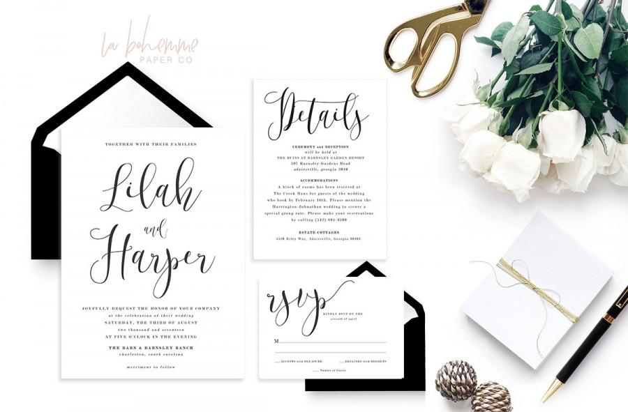 Wedding - Printable Wedding Invitation Suite / Calligraphy / Wedding Invite Set - The Lilah Suite
