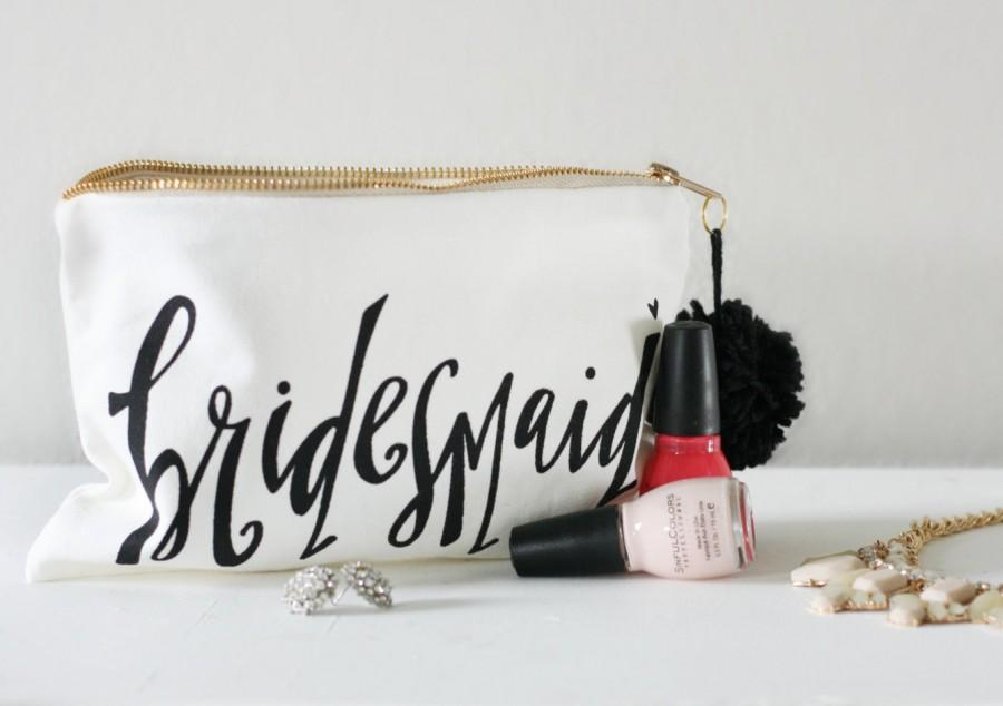 Bridesmaid Makeup Bag Gift Maid Of Honor Favor Bags Bridal Party Bride Wedding