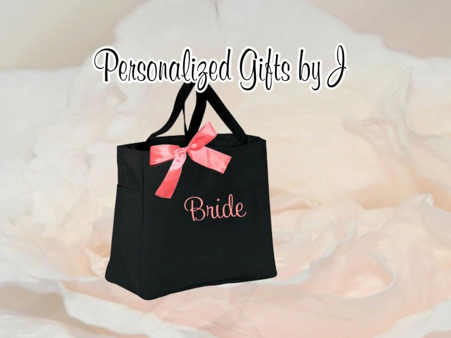 Hochzeit - 9 Personalized Bridesmaid Gift Tote Bags- Embroidered Tote - Maid of Honor Gift - Name Tote- Mother of the Bride/ Groom