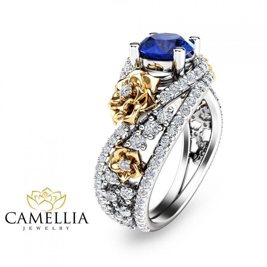 Wedding - Unique Natural Sapphire Gold Engagement Ring 14K Two Tone Gold Flower Ring Sapphire Engagement Ring