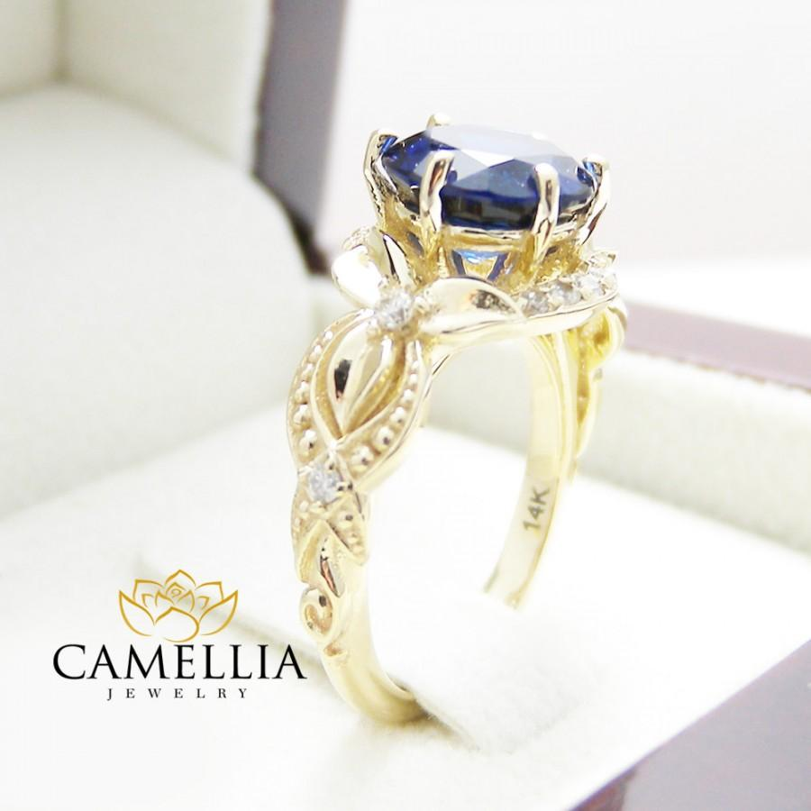 Wedding - Floral Diamond and 8mm Round Sapphire Engagement Ring 14k Yellow Gold Wedding Ring Blue Sapphire Ring Gemstone Ring