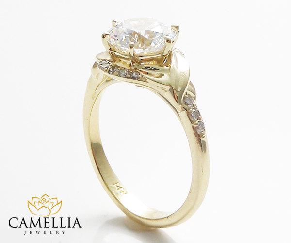 Wedding - 14K Yellow Gold Moissanite Engagement Ring Leaf Engagement Ring Unique 2Ct Moissanite Ring