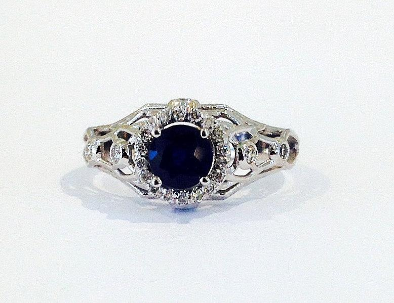 Wedding - Antique Engagement Ring Sapphire Ring Blue Sapphire Ring Bridal Jewelry Wedding Ring Promise Ring Anniversary ring Art deco ring  Band Ring