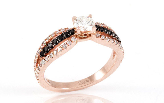 Свадьба - Antique Engagment Ring rose gold  black and white diamonds, Black diamond ring, Rose gold ring, engagement Ring, Art Deco Engagement Ring