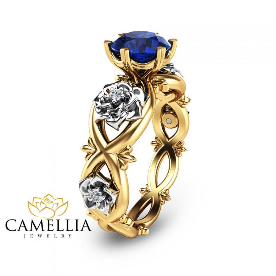 Wedding - Unique Engagement Ring Blue Sapphire Engagement Ring 14K Two Tone Gold Natural Blue Sapphire Ring