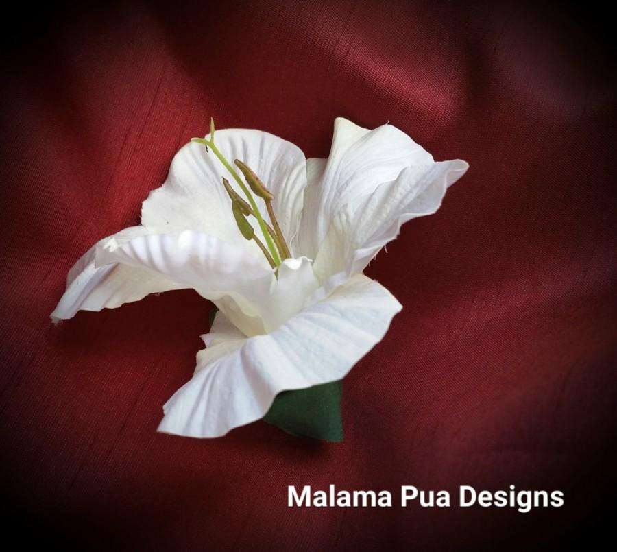 Wedding - HAWAIIAN WHITE HIBISCUS Hair clip, Hair Flower, Headpiece, Tropical, Real Touch Silk Flower, Bridal, Natural Size, Beach Wedding, Bridesmaid