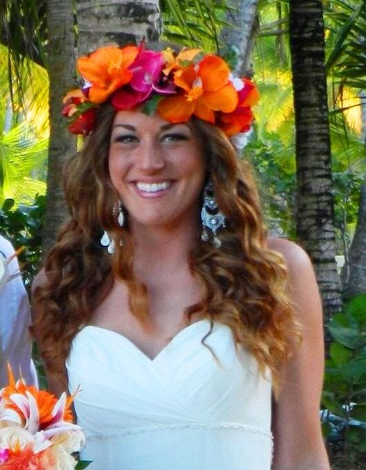 Hochzeit - SILK FLOWER CROWN - Hawaiian. Tropical Headpiece, Bridal, Orchids, Tiara, Beach Wedding Accessory, Flower Girl, Custom Hair Accessory