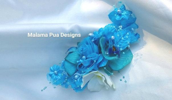 Hochzeit - SILK FLOWER Headpiece - Wedding hair clip, Turquoise, Hawaiian Orchids, Bridal Clip, Pearls, Beach Wedding Headpiece, Bridal Hair Accessory