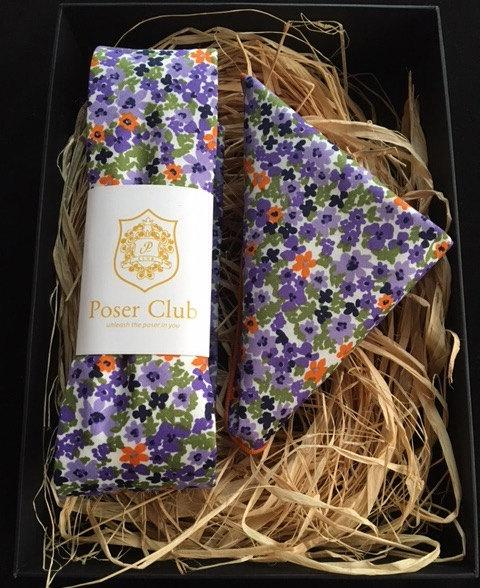 Hochzeit - Matching Neck Tie / Bow Tie and Pocket Square Purple Passion Duo Set by Poser Club!