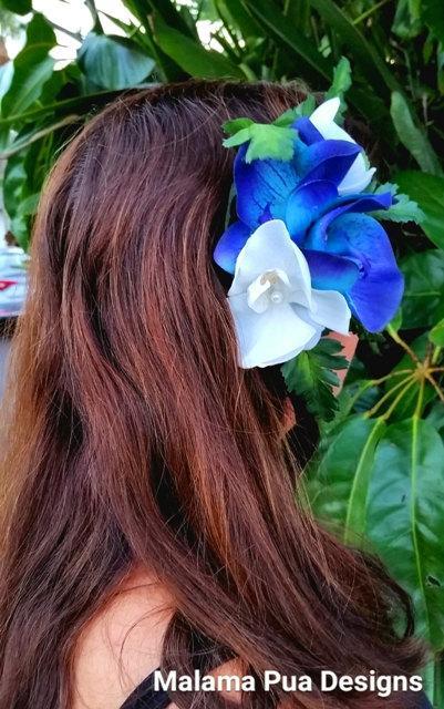 Свадьба - HAWAIIAN Orchid Hair Clip, bridal hair flower, Tropical hair flowers, Silk Hair flower, Wedding Headpiece, Swarovski Crystals, Beach Wedding