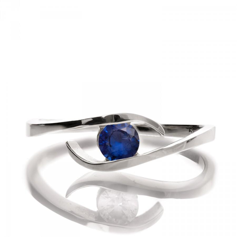 Свадьба - Blue Sapphire Ring- 14K White Gold and Sapphire engagement, Engagement band, wedding band, Star band. Star ring, September Birthstone, R009