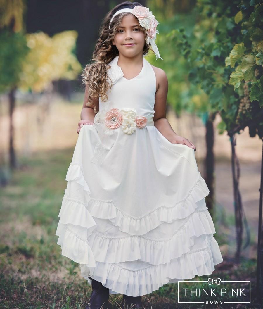 Hochzeit - Boho flower girl dress, flower girl dresses,rustic flower girl dress, girl dress,Halter flower Girl Dress, Ivory Beach Flower girl dress
