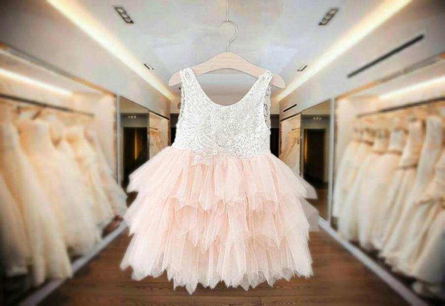 زفاف - Girls Party Special Occassion Flower Girl Dress avail in Pink and Ivory Tulle Lace bodice