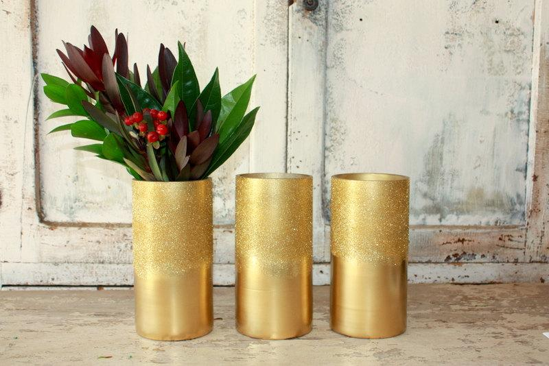 Mariage - Ombre gold glitter vase, set of 3 gold vases for wedding centerpices, wide mouth gold vase, gold wedding table decor, bouquet vase