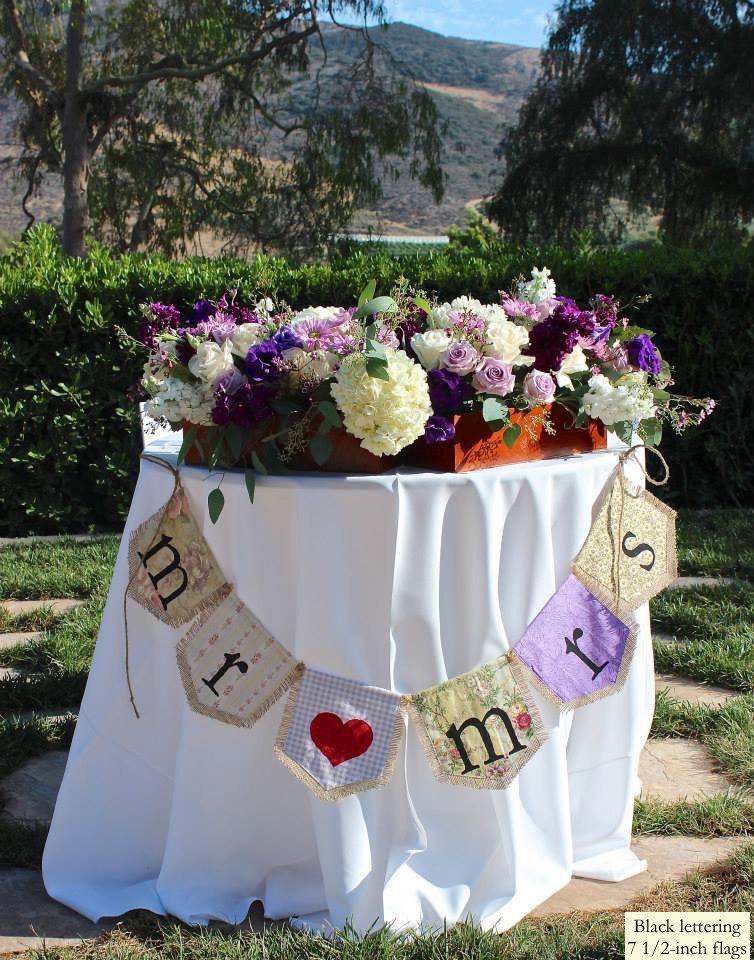 زفاف - Custom MR MRS bunting banner flag...wedding, sweetheart