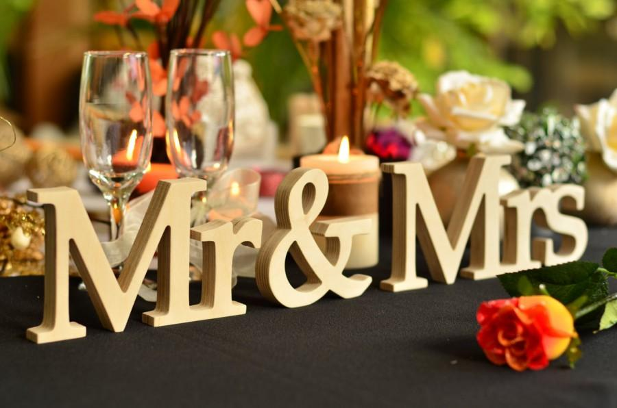 Elegant Mr & Mrs Wooden Letters