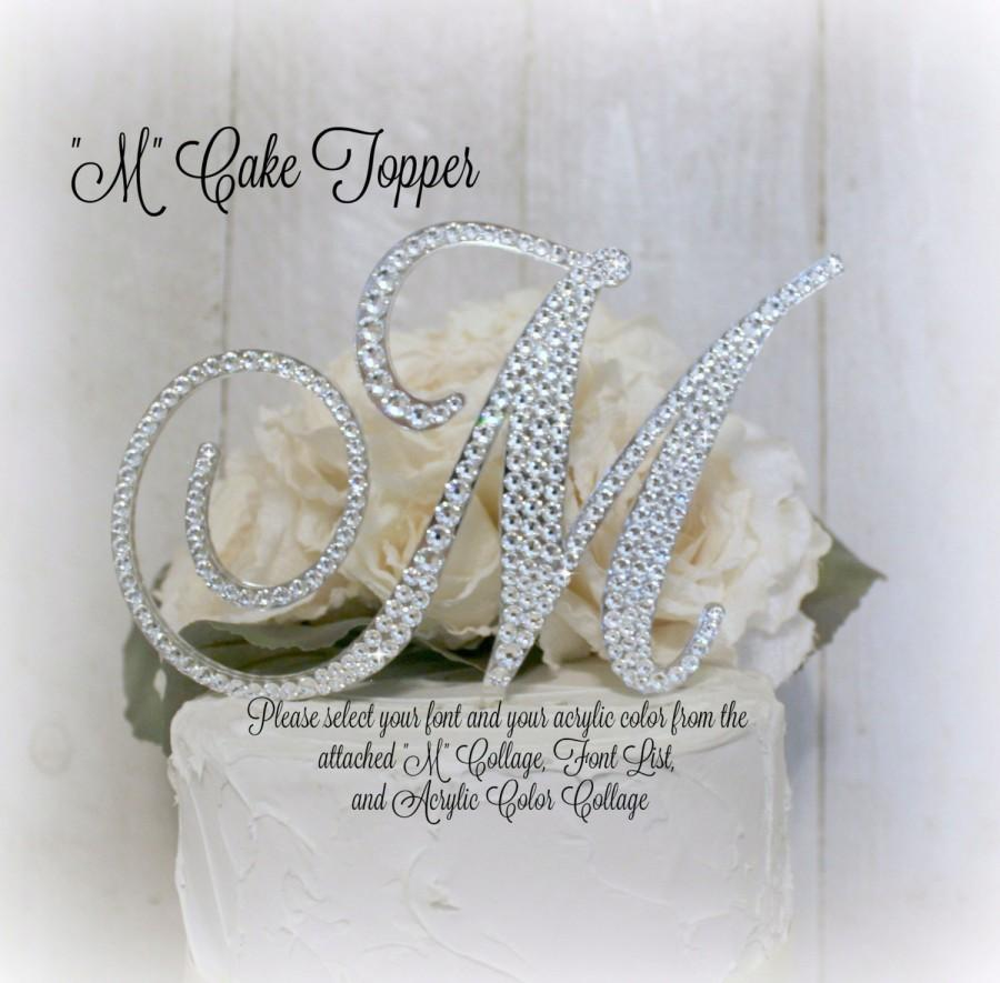 5 Wedding Cake Topper Letter M Initial Toppers Monogram Birthday Bling In Swarovski Rhinestone