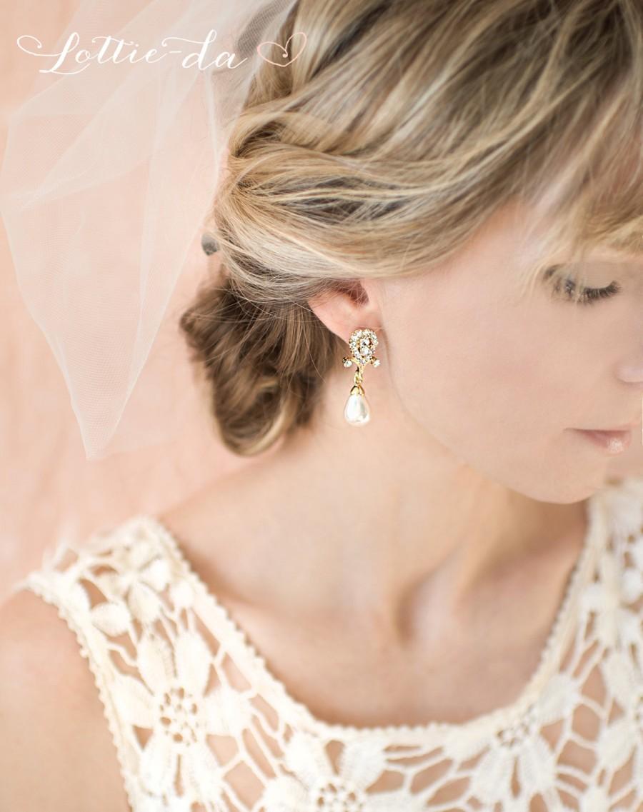 Wedding - Gold Bridal Pearl Earrings, 1920s Gatsby Gold Wedding Drop Earrings, Gold Chandelier Earrings, Gold Vintage Earrings Ivory, White - CLARA