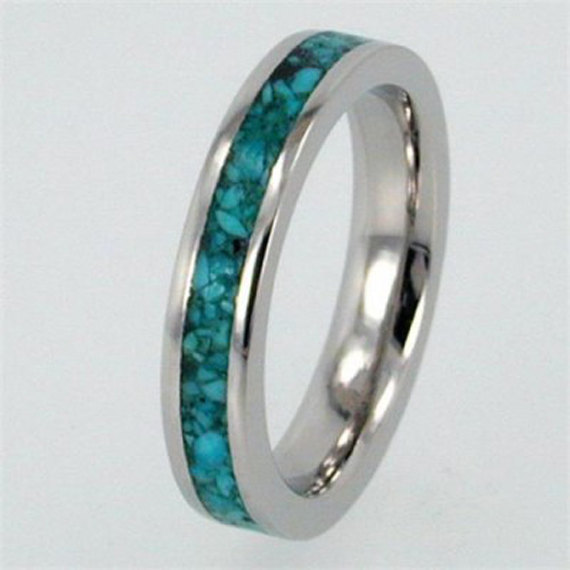 Womens White Gold Ring With Turquoise Stone Inlay 10k White Gold