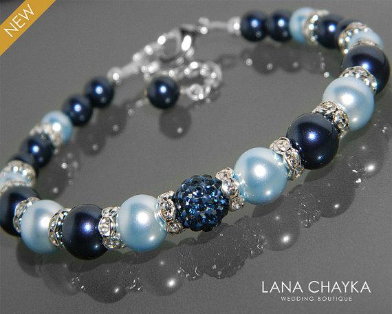 Mariage - Navy Blue Light Blue Pearl Bracelet Swarovski Pearl Silver Bracelet Wedding Dark Light Blue Pearl Bracelet One Strand Pearl Bridal Bracelet