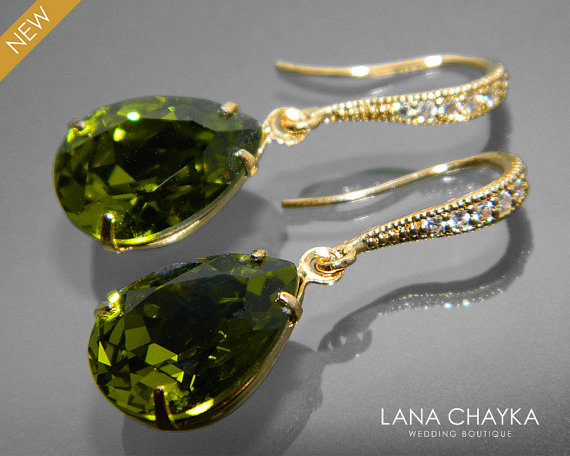 Hochzeit - Olive Crystal Gold Earrings Swarovski Olivine Rhinestone Teardrop Earrings Wedding Olive Gold CZ Dangle Earrings Bridal Bridesmaid Jewelry