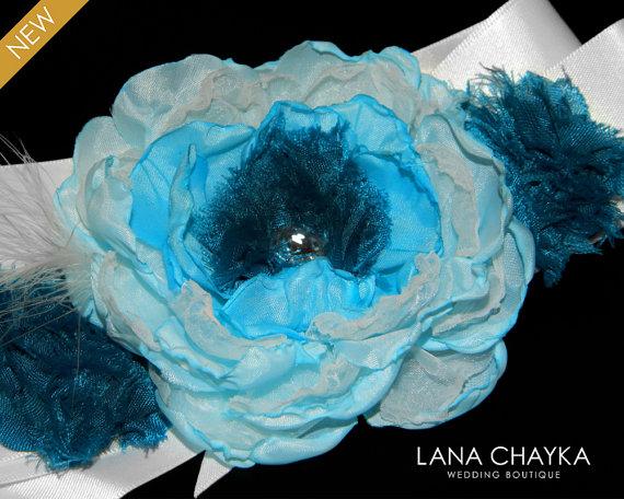 Wedding - Teal Aqua Blue White Sash Dark Teal White Flower Girl Sash Wedding Girls Satin Belt Aqua Blue Peacock Floral Sash Flower Girl Dress Sash