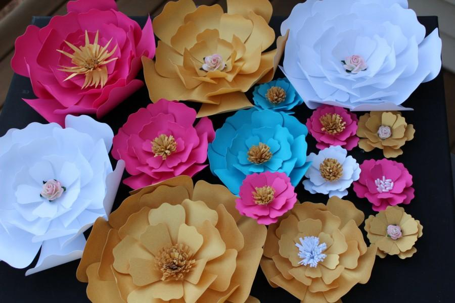 Mariage - Set of 20 Paper Flowers for Wall Décor, Backdrops, Weddings and Showers decoration