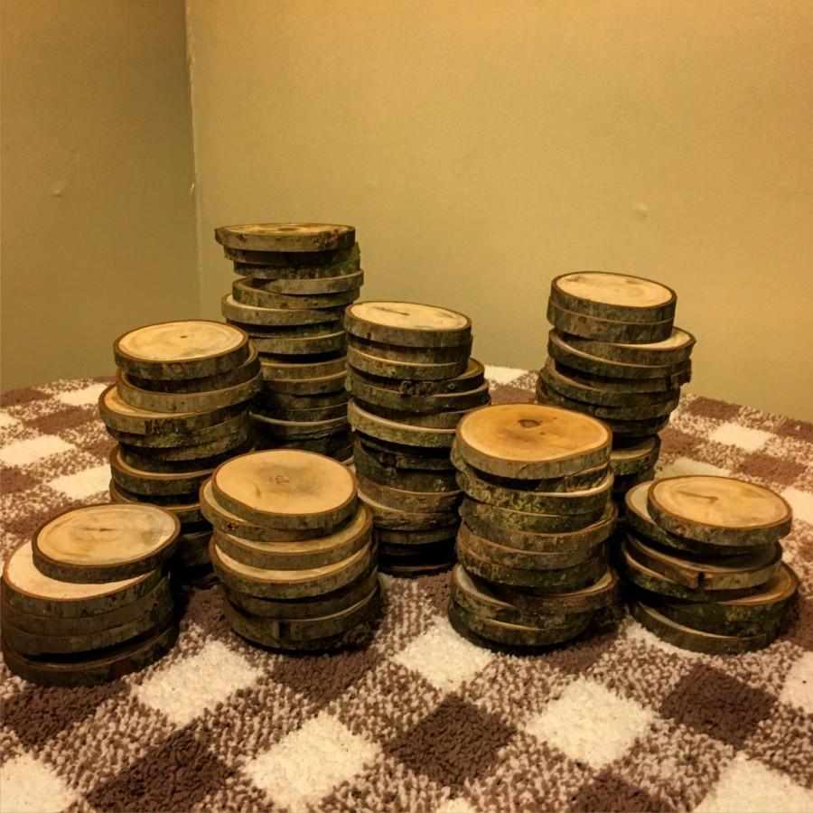 100 3 wood slices rustic wedding decor tree slices log 100 3 wood slices rustic wedding decor tree slices log coasters diy wedding junglespirit Images