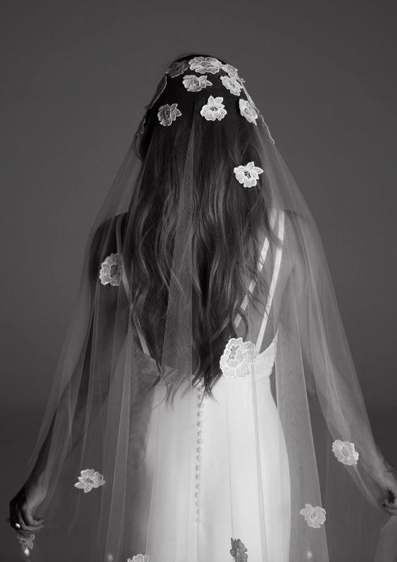 Wedding - Floral Embroidered Veil Wedding Dress