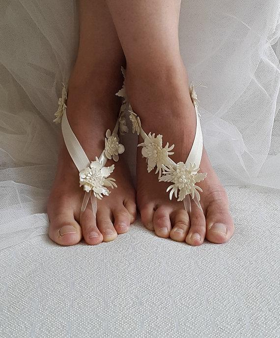 Свадьба - beach,Imitation leather flowers, wedding sandals, shoes, free shipping! Anklet, bridal sandals, bridesmaids, wedding gifts.......