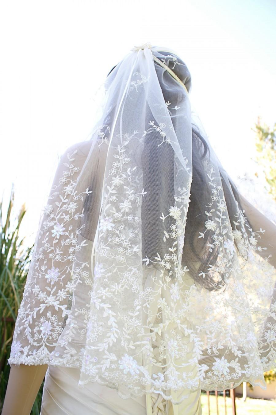 Beaded Whimsical Floral Bridal Cap Veil Clara Beaded Lace And