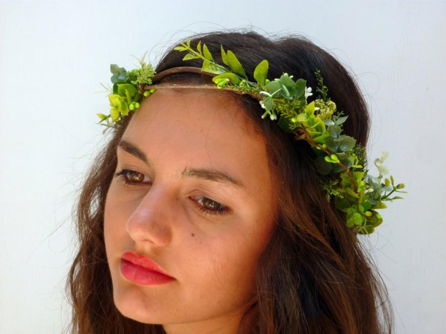 Mariage - Green leaf flower Crown, Floral Headband,wedding headpiece, hair wreath,  festival