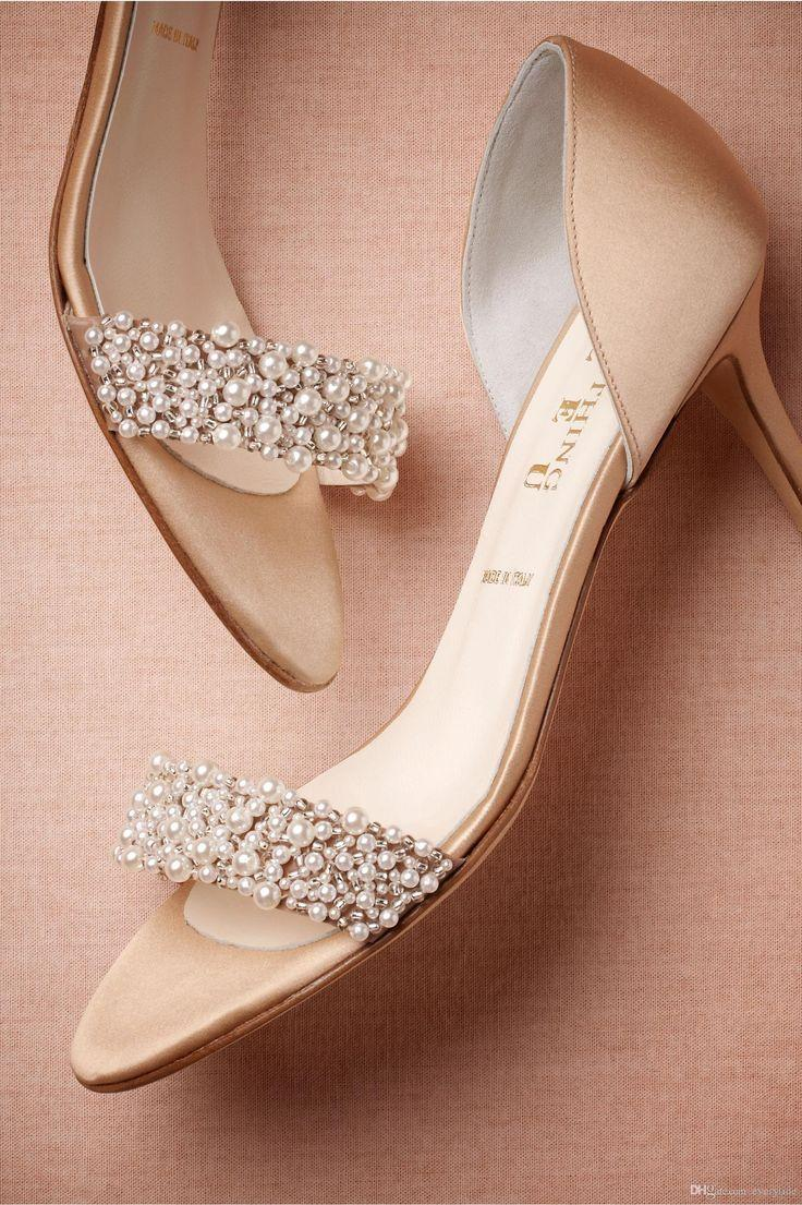Ivory Bridal Shoes Uk Gorgeous Wedding Summer Champagne High Heels Medium Length Decorated With Beading Pearls Open Toe Women