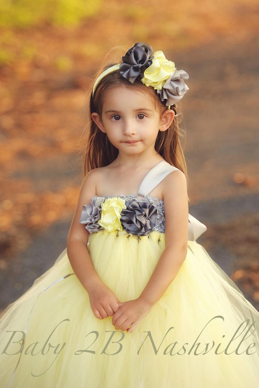 Wedding Flower Girl Dress Grey Yellow Flower Girl Tutu Dress Baby To