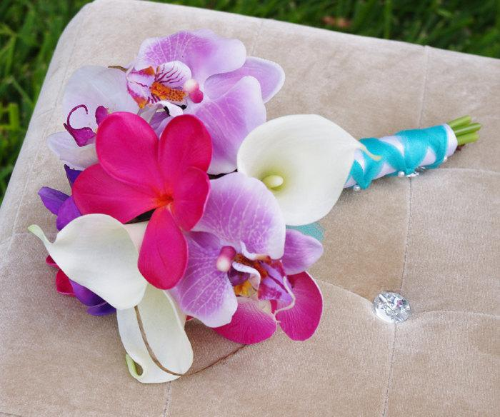 Mariage - Wedding Fuchsia Pink and Lilac Natural Touch Orchids and Plumerias Silk Flower Bride Bouquet