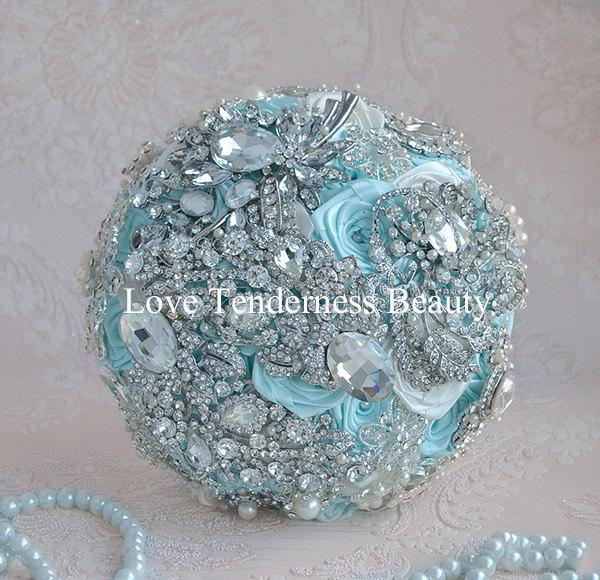 Sale Ready To Ship 7 Wedding Brooch Bouquet Blue And Silver