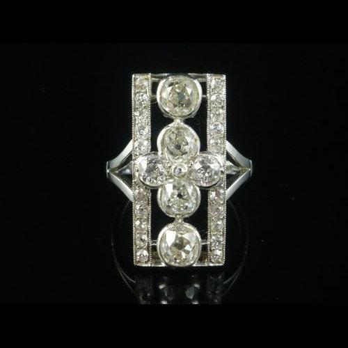 Mariage - Art Deco 4CT Old Cut Diamond Cluster Large Ring Circa 1920