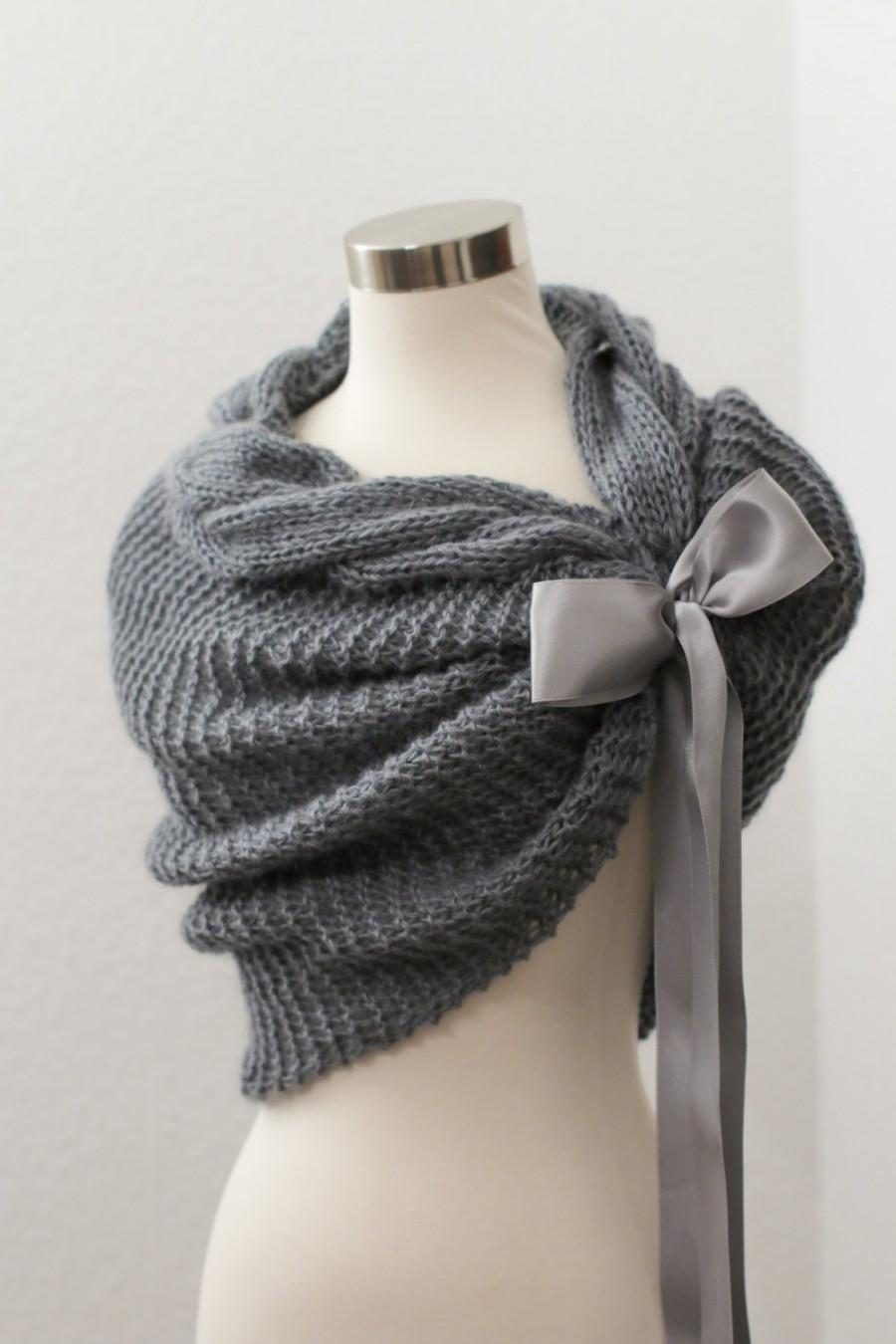 Mariage - Grey Bolero, Wedding Bolero, Bridal Cape, Knit Shawl, Bridal Shawl