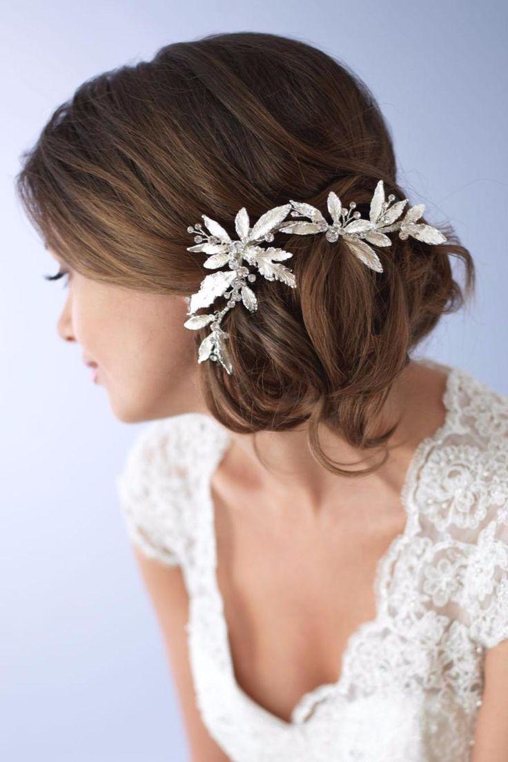 Mariage - Floral Silver Clip