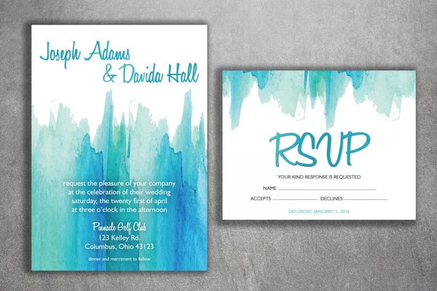 Mariage - Watercolor Wedding Invitations Set Printed - Cheap Wedding Invitations, Affordable Wedding Invitations, Unique, Announcements, Custom Design