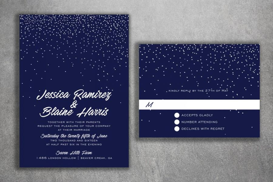 winter snow wedding invitations set cheap wedding invitations stars night blue white affordable invitations lights - Cheap Wedding Invitations Sets